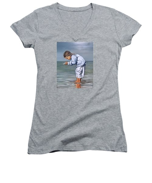 Women's V-Neck T-Shirt (Junior Cut) featuring the painting Girl With Shell by Natalia Tejera