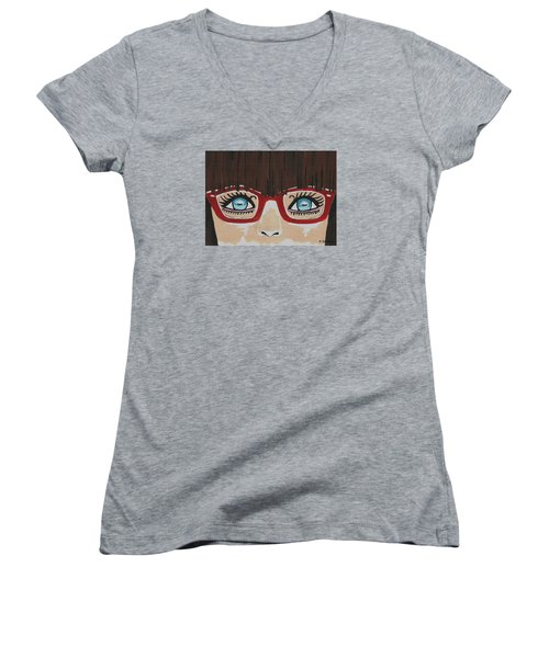 Women's V-Neck T-Shirt (Junior Cut) featuring the painting Girl With The Red Glasses by Kathleen Sartoris