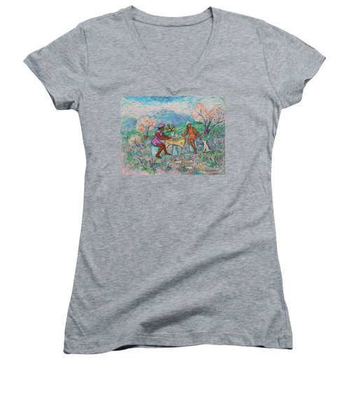 Women's V-Neck T-Shirt featuring the painting Girlfriends' Teatime Iv by Xueling Zou