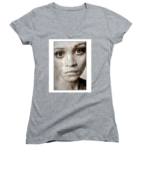 Girls Face With Snake Skin Texture Women's V-Neck T-Shirt (Junior Cut) by Michael Edwards