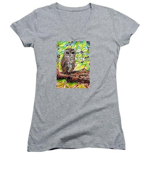 Give A Hoot Women's V-Neck T-Shirt