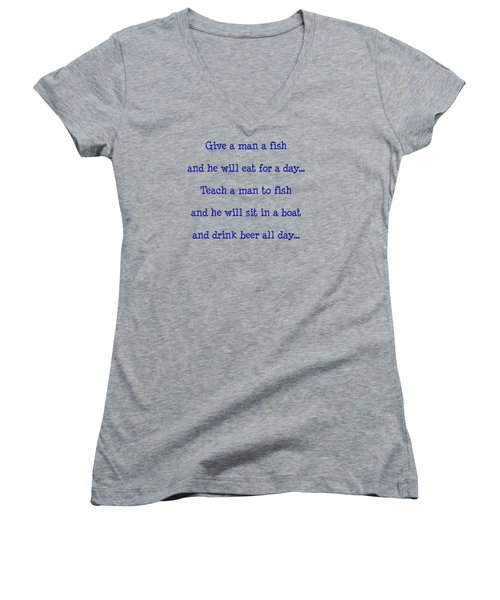 Give A Man A Fish Women's V-Neck T-Shirt (Junior Cut) by Pat Cook