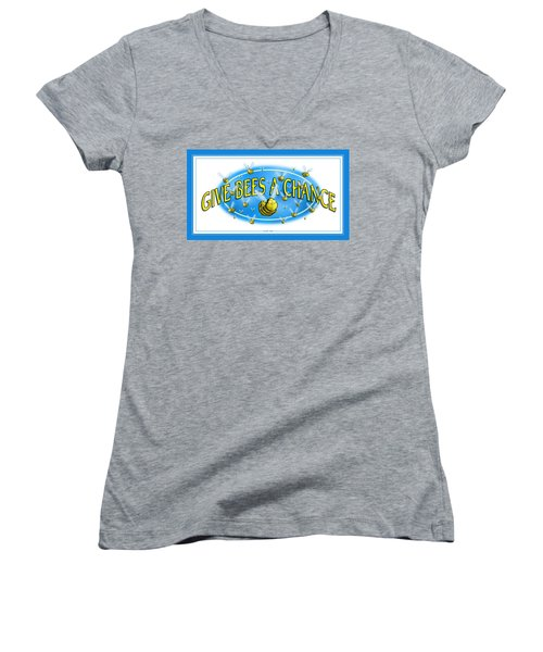 Give Bees A Chance Women's V-Neck
