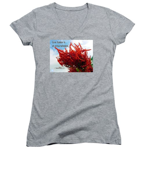 Give Thanks Women's V-Neck T-Shirt (Junior Cut) by Judi Saunders
