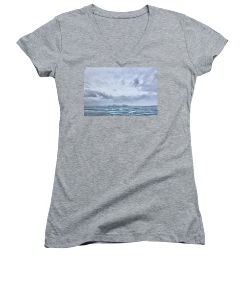 Women's V-Neck T-Shirt (Junior Cut) featuring the tapestry - textile Glacial Lagoon Iceland by Kathy Adams Clark