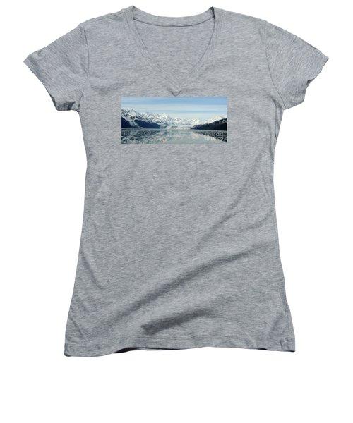 Glacier Bay Reflections Women's V-Neck T-Shirt (Junior Cut) by Susan Lafleur