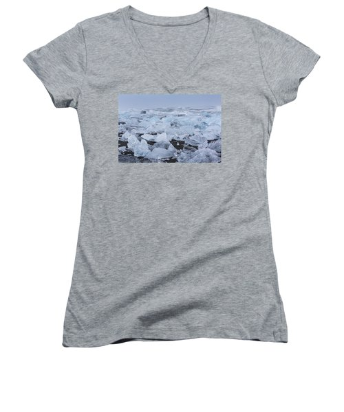 Women's V-Neck T-Shirt (Junior Cut) featuring the tapestry - textile Glacier Ice by Kathy Adams Clark