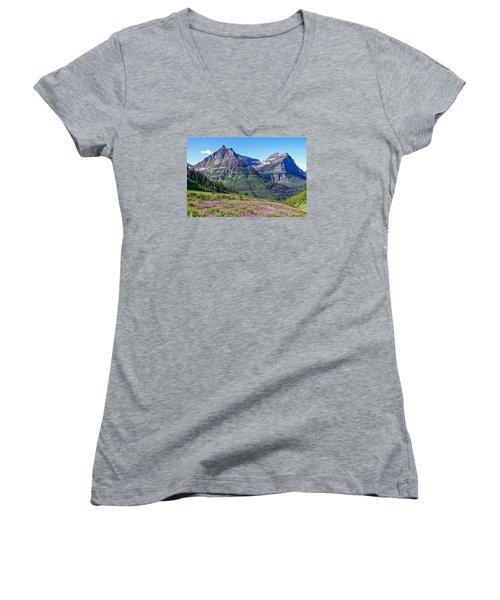 Women's V-Neck T-Shirt (Junior Cut) featuring the photograph Glacier Park Bedazzeled by Susan Crossman Buscho
