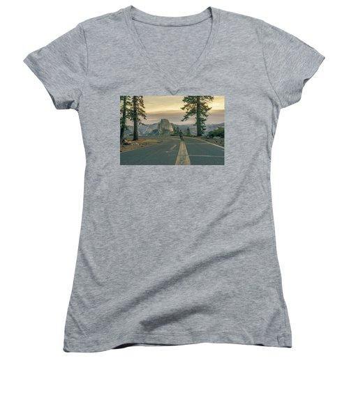 Glacier Point Adventure Women's V-Neck T-Shirt (Junior Cut) by Alpha Wanderlust