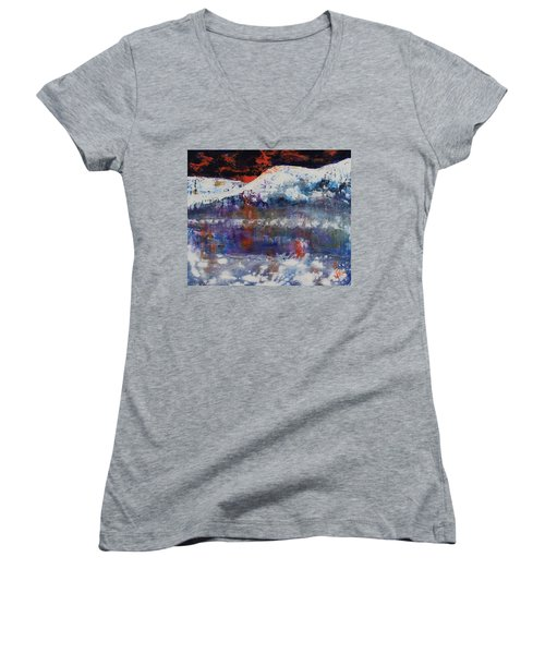Women's V-Neck T-Shirt featuring the painting Glacier Reflections by Walter Fahmy