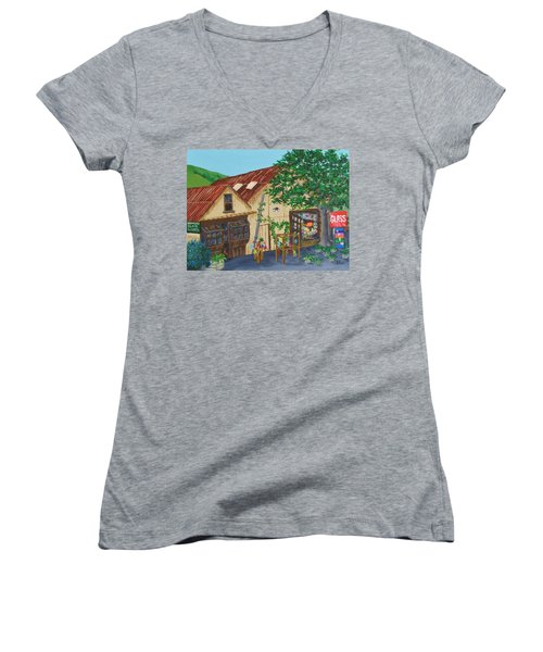 Glass Blower Shop Harmony California Women's V-Neck T-Shirt (Junior Cut) by Katherine Young-Beck