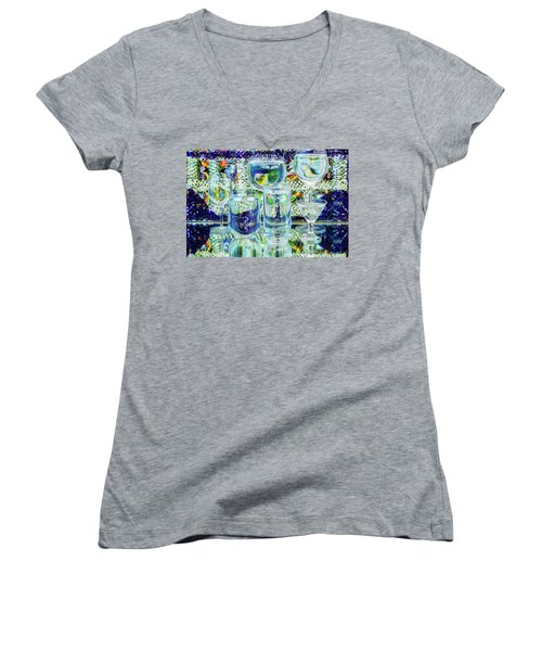Glass Blues Women's V-Neck (Athletic Fit)