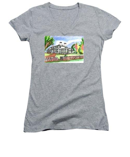 Glen Magna Farms Danvers Women's V-Neck T-Shirt (Junior Cut) by Paul Meinerth