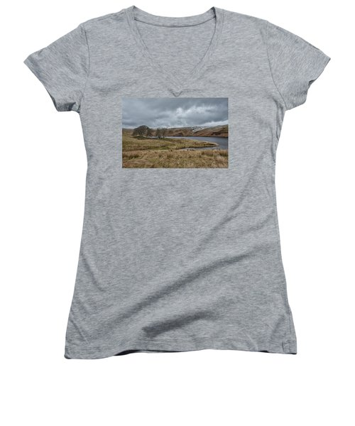 Women's V-Neck T-Shirt featuring the photograph Glendevon Reservoir In Scotland by Jeremy Lavender Photography