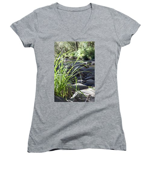Women's V-Neck T-Shirt (Junior Cut) featuring the photograph Glistening In The Sunlight by Linda Lees