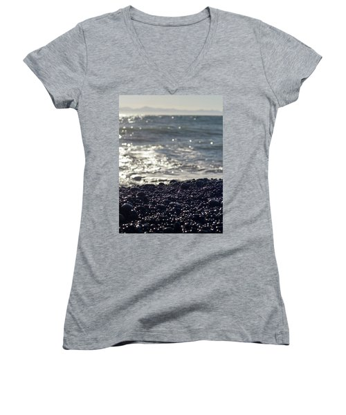 Glistening Rocks And The Ocean Women's V-Neck