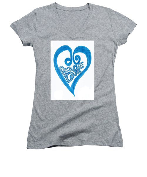Global Peace And Love Heart Women's V-Neck (Athletic Fit)