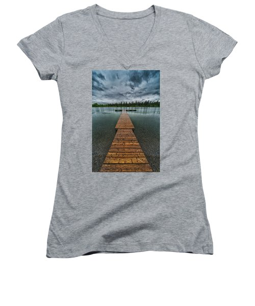 Women's V-Neck T-Shirt (Junior Cut) featuring the photograph Gloomy Rainy Day On Norbury Lake by Darcy Michaelchuk