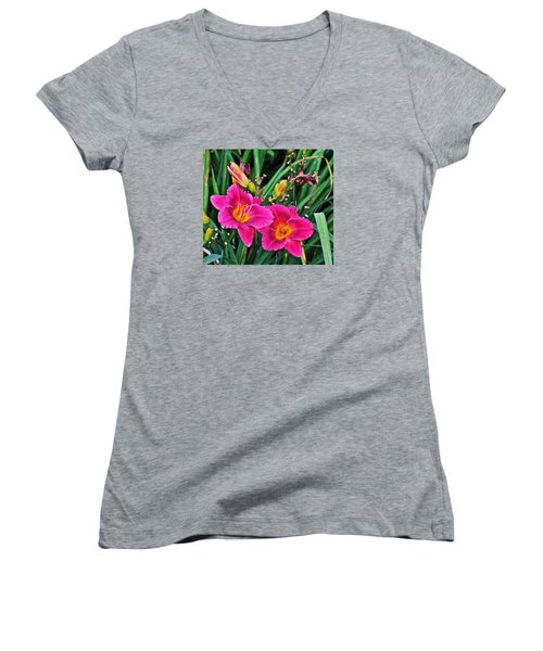 Glorious Daylilies Women's V-Neck (Athletic Fit)