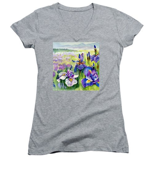 Women's V-Neck T-Shirt (Junior Cut) featuring the painting Glorious Hand Of God by Karen Showell
