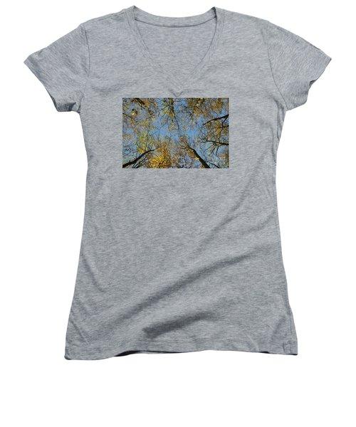 Women's V-Neck T-Shirt featuring the photograph Glorious Tree Tops by Kennerth and Birgitta Kullman