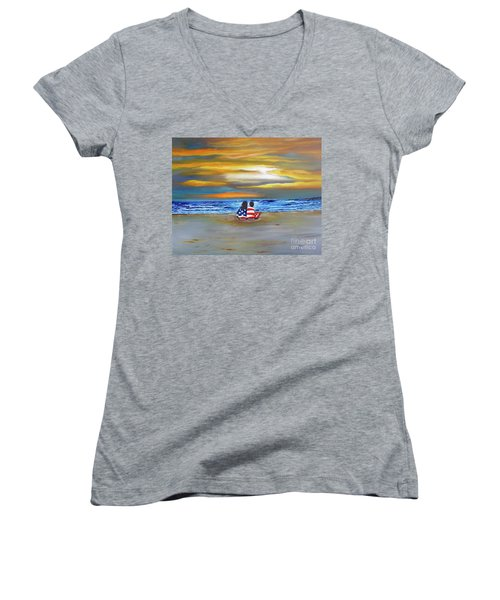 Women's V-Neck T-Shirt (Junior Cut) featuring the painting Glory by Barbara Hayes
