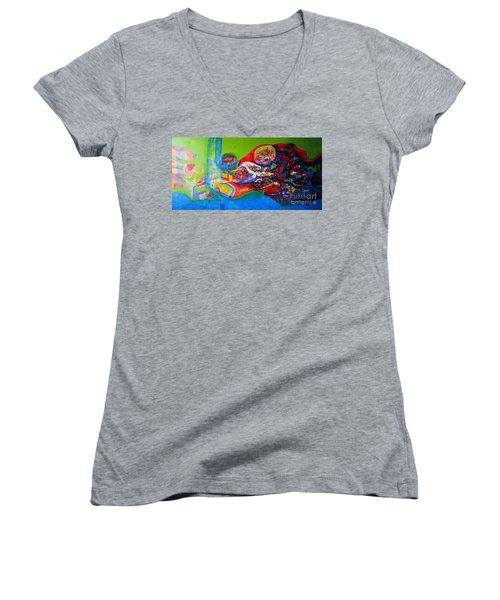 Glory Of Harmony Women's V-Neck T-Shirt (Junior Cut) by Sanjay Punekar