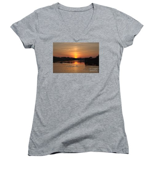 Glory Of The Morning On The Water Women's V-Neck