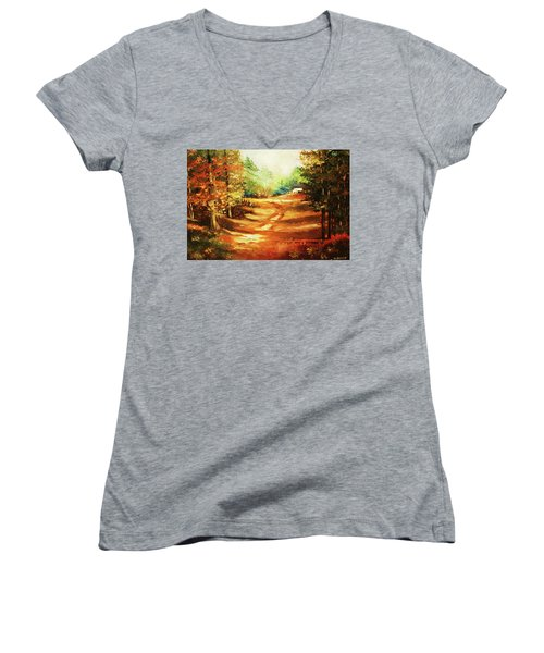 Glory Road In Autumn Women's V-Neck T-Shirt (Junior Cut) by Al Brown