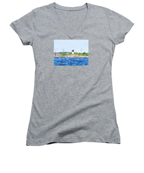 Gloucester Skyline From Harbor With Windmills And Ten Pound Island Lighthouse Women's V-Neck T-Shirt (Junior Cut) by Melissa Abbott