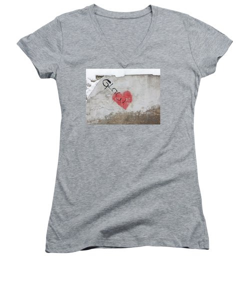 Women's V-Neck T-Shirt (Junior Cut) featuring the photograph Glow Heart by Art Block Collections