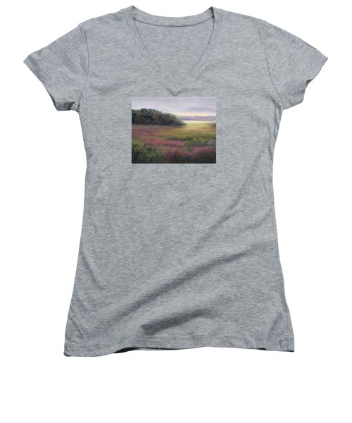 Women's V-Neck T-Shirt (Junior Cut) featuring the painting Glow On Gilsland Farm by Vikki Bouffard