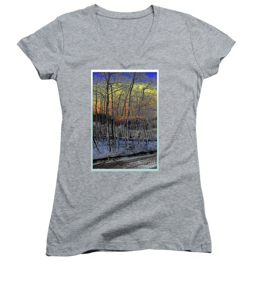 Glowing Aspens At Dusk Women's V-Neck (Athletic Fit)