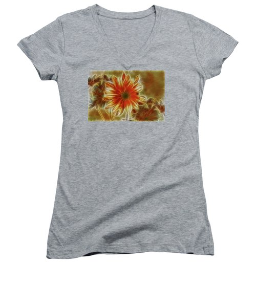 Glowing Flower Women's V-Neck