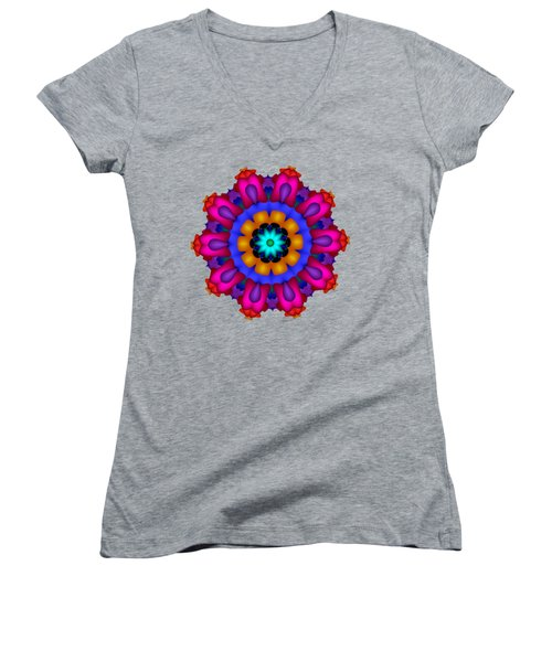 Glowing Fractal Flower Women's V-Neck