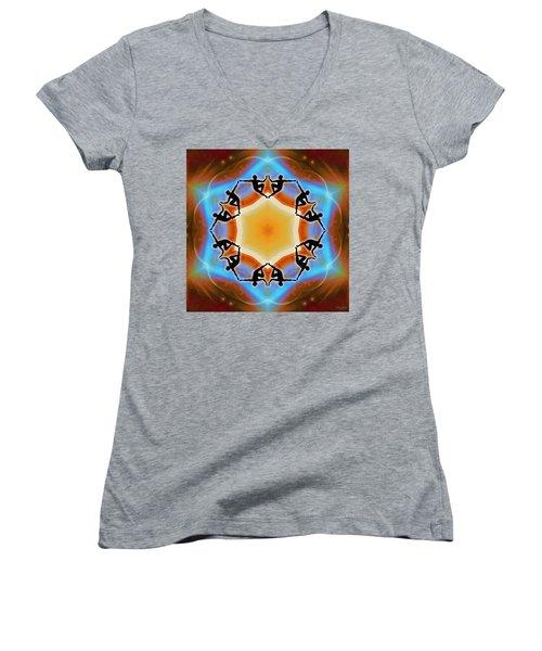 Women's V-Neck T-Shirt featuring the digital art Glowing Heartfire by Derek Gedney