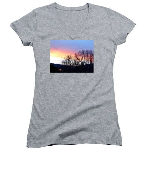 Women's V-Neck T-Shirt (Junior Cut) featuring the photograph Glowing Kalamalka Lake by Will Borden