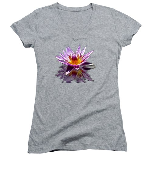 Glowing Lilly Flower Women's V-Neck T-Shirt (Junior Cut) by Shane Bechler