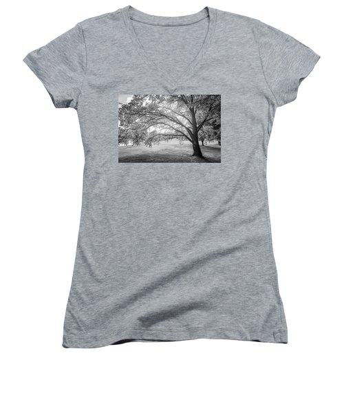 Glowing Tree Women's V-Neck T-Shirt (Junior Cut) by Teemu Tretjakov