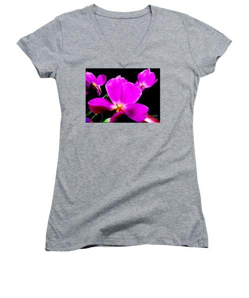 Glowing Tulips Women's V-Neck T-Shirt (Junior Cut) by Tim Townsend