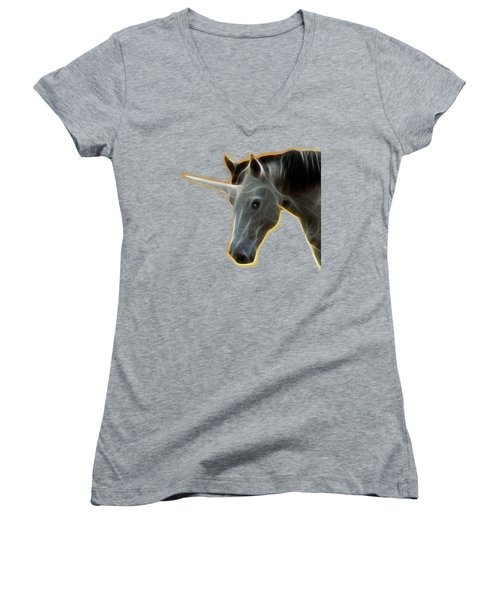 Women's V-Neck T-Shirt (Junior Cut) featuring the photograph Glowing Unicorn by Shane Bechler
