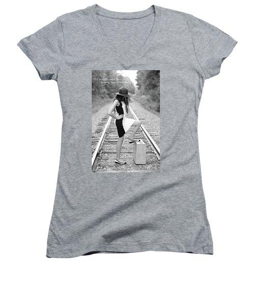Women's V-Neck T-Shirt (Junior Cut) featuring the photograph Go Far by Barbara West