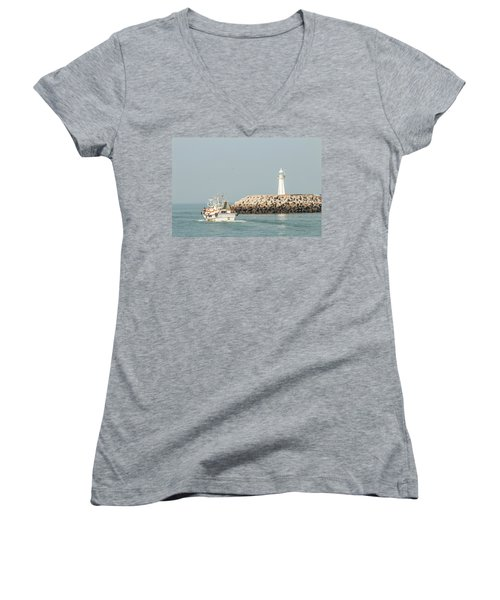 Go Fishing Women's V-Neck T-Shirt (Junior Cut) by Hyuntae Kim