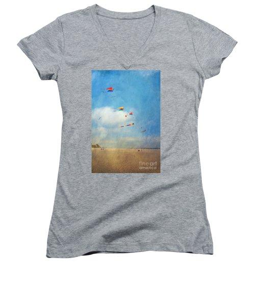 Women's V-Neck T-Shirt (Junior Cut) featuring the photograph Go Fly A Kite by David Zanzinger