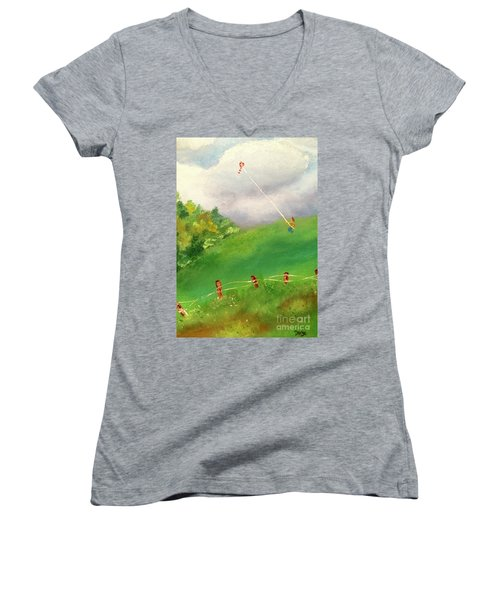 Women's V-Neck T-Shirt featuring the painting Go Fly A Kite by Denise Tomasura
