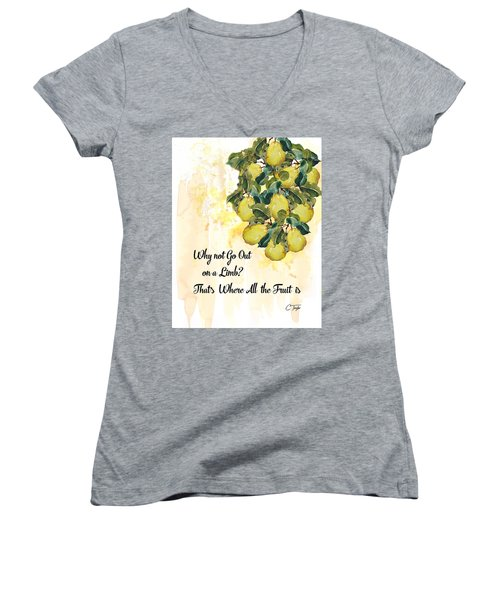 Women's V-Neck T-Shirt (Junior Cut) featuring the digital art Go Out On A Limb by Colleen Taylor