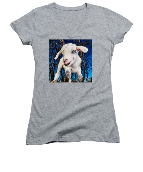 Goat High Fashion Runway Women's V-Neck T-Shirt