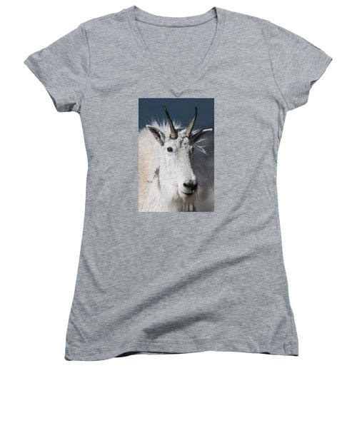 Goat Portrait Women's V-Neck (Athletic Fit)