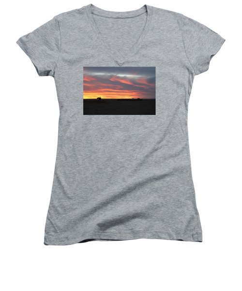Gobi Sunset Women's V-Neck T-Shirt (Junior Cut) by Diane Height