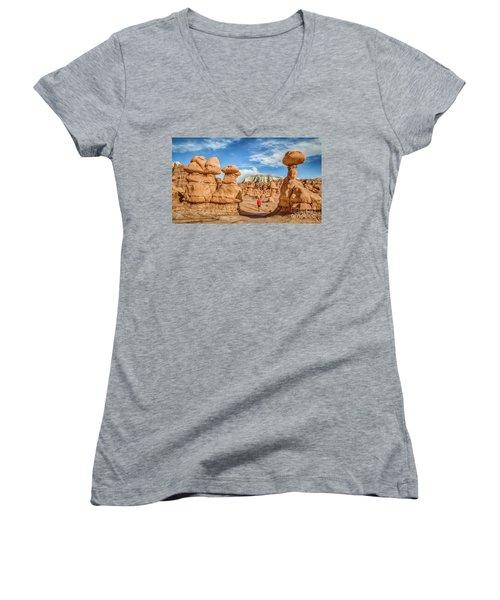 Goblin Valley State Park Women's V-Neck T-Shirt (Junior Cut) by JR Photography